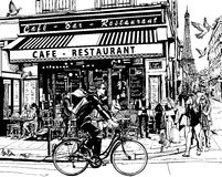 кафе старый paris бесплатная иллюстрация