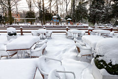 Кафе с снежком. Landscaper зимы. Стоковое Изображение RF