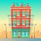 Кафе улицы вектора в жилой квартире мульти-этажа бесплатная иллюстрация