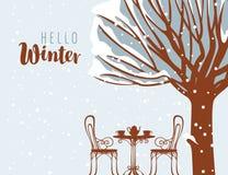 Кафе улицы зимы под деревом с надписью Стоковая Фотография