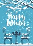 Кафе улицы зимы под деревом с надписью Стоковые Изображения