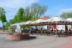 Кафе улицы на обваловке западного Dvina, Витебска, Беларуси Стоковое фото RF