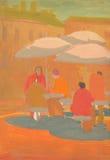 Кафе улицы с посетителями Картина темперы Стоковое Фото