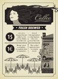 Кафе девушки и улицы Стоковые Фото