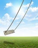 Качание веревочки на зеленом поле Стоковая Фотография RF