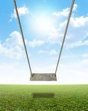 Качание веревочки на зеленом поле Стоковое Изображение
