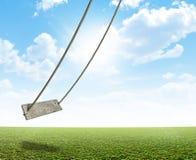 Качание веревочки на зеленом поле Стоковые Изображения