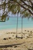 Качание веревочки на тропическом пляже Стоковая Фотография RF