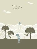 качание девушки мальчика воздушных шаров Стоковые Фотографии RF
