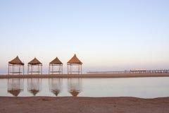 качания захода солнца пляжа Стоковая Фотография