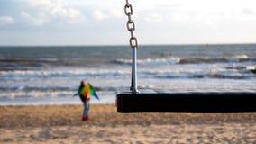 Качания на пляже с змеем в предпосылке Стоковое Фото