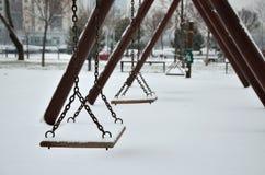 Качания с снегом Стоковое Фото