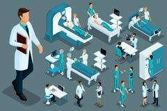 Качественное Isometrics, медицинские работники и пациенты, больничная койка, MRI, блок развертки рентгеновского снимка, блок разв иллюстрация вектора