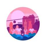 Качество покрасило плоские цвета и пальмы города o морским путем Vector иллюстрация Стоковые Изображения RF