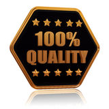качество 5 100 процентов играет главные роли кнопка шестиугольника Стоковые Фото