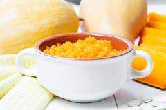 Каша тыквы изолированная осенью белизна тыквы Еда осени еда здоровая Стоковые Изображения