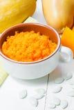 Каша тыквы изолированная осенью белизна тыквы Еда осени еда здоровая Стоковая Фотография