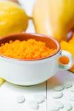 Каша тыквы изолированная осенью белизна тыквы Еда осени еда здоровая Стоковое Изображение RF