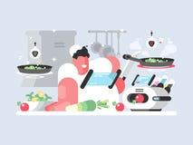 Кашевар в белой крышке подготавливает очень вкусное блюдо иллюстрация штока