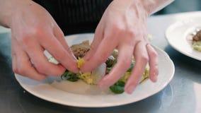 Кашевар в ресторане подготавливает и служит аппетитное блюдо 4k видеоматериал