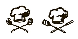 Кашевар, логотип шеф-повара или значок Ярлыки для меню ресторана или кафа вектор символа регулирования пламени цвета иллюстрация штока