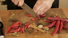 Кашевар отрезает перцы горячего chili на деревянной доске видеоматериал