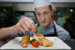 Кашевар подготавливая еду с семгами стоковое фото rf