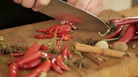 Кашевар прерывает перец chili для салата акции видеоматериалы