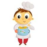 Кашевар ребенк, персонаж из мультфильма изолированный на белизне Стоковое Фото
