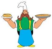 Кашевар шаржа с пиццей и пирогом в его руках Стоковое фото RF