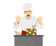 Кашевар шеф-повара варя обедающий Стоковое Изображение RF
