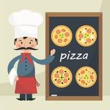 Кашевар шеф-повара с пиццей меню Стоковые Изображения RF