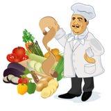 Кашевар шеф-повара с рецептом и популярными овощами, иллюстрацией вектора бесплатная иллюстрация