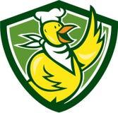 Кашевар шеф-повара цыпленка развевая стоящий шарж Стоковое Фото