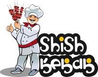 Кашевар kebab Shish, восточный характер кухни бесплатная иллюстрация