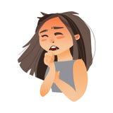 Кашлять женщины, покрывая рот с ее рукой иллюстрация штока