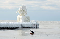 Каяк в холоде Стоковая Фотография RF