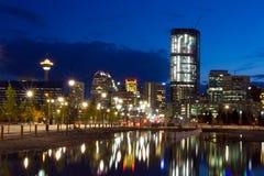 Калгари на ноче, Канада Стоковая Фотография