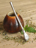 Калебас с чаем ответной части yerba, концом-вверх Стоковые Фото