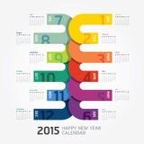 2015 календарей/2015 счастливых Новых Годов Дизайн календаря Стоковая Фотография RF