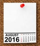 Календарь август 2016 перевод 3d Стоковые Фото