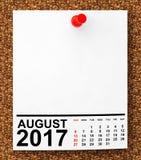 Календарь август 2017 перевод 3d Стоковое Фото