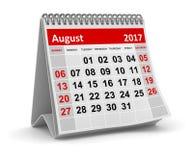 Календарь - август 2017 Стоковые Фотографии RF