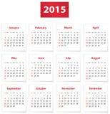 Календарь 2015 английских языков Стоковое Изображение RF