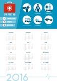 Календарь 2016 бортовой аптечки CPR иллюстрация штока