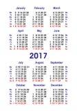 Календарь 2017 вектора Вертикальный вариант Стоковые Изображения