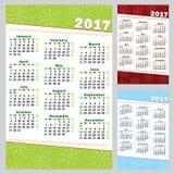 Календарь 2017 вектора - комплект иллюстрация вектора
