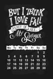 Календарь вектора на сентябрь 2018 Нарисованная рука помечающ буквами цитаты для дизайна календаря Стоковое Изображение