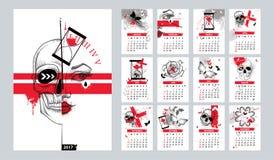 Календарь вектора установленный на 2017 год бесплатная иллюстрация