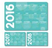 Календарь 2016 вектор 2017 2018 Стоковые Изображения